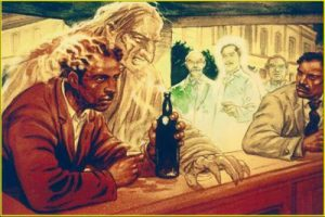 influência espiritual no bar